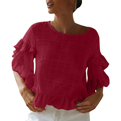 YANG-YI Womens Blouse Pure Color Knitted Shirt Trumpet Sleeves Ruffled Casual Short Tees Wine ()
