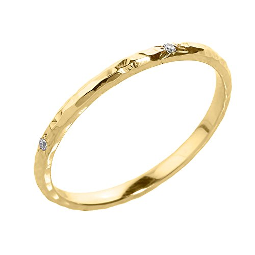 Modern Contemporary Rings Dainty 14k Yellow Gold Hammered Band Stackable Diamond Ring (Size 10.5)
