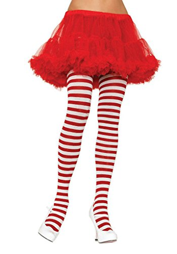 Leg Avenue Women's Plus-Size Striped Tights, White/Red, Plus (Red And White Stockings)