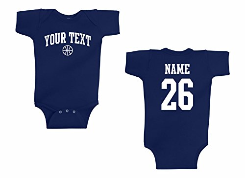 - Infant Onesie Custom Personalized, Basketball Arched Text, Back Name & Number Navy Blue