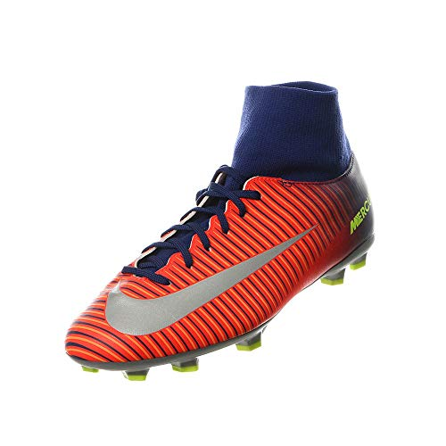 Nike Kids MercurialX Victory VI Dynamic FIT FG DEEP Royal Blue/Chrome/Total Crimson Shoes - 2Y ()