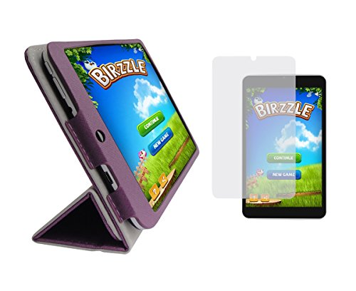 iShoppingdeals - Plum Purple Folding Folio Cover Case and Clear Screen Protector for Digital2 8