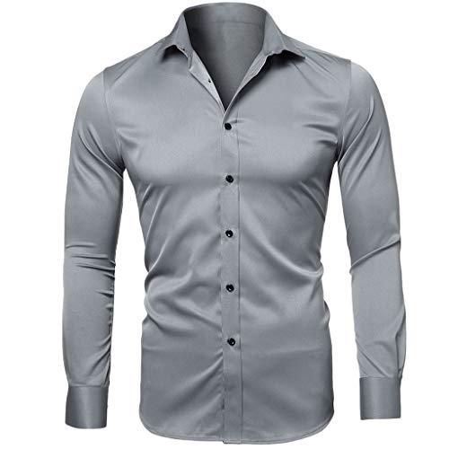 Rakkiss_Men Shirts Fashion Solid Business Tops Button Turn-Down Collar Tee Long Sleeve Summer Tops Gray (Best Male Fashion Websites)