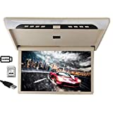 KOQIO 19 inch Car Flip Down Monitor HDMI 1080P HD TFT LCD Roof Mount Monitor Ultra Thin Overhead Video Player for Car SD MP3 MP5 LED with USB TF HDMI Gray,Beige