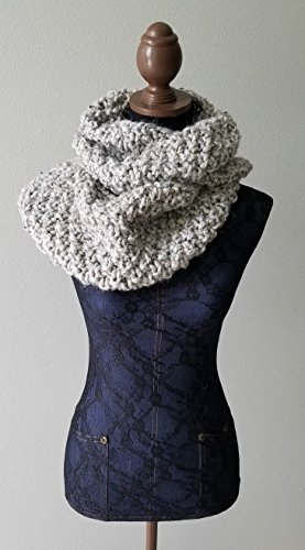 Knitted Large Cowl, Infinity Scarf. Handmade in Gray Marble Chunky Wool Yarn in a Seed Stitch Pattern.