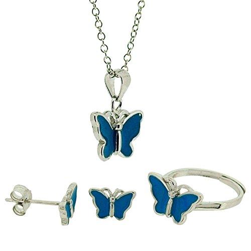 Jo para las chicas de plata de ley pendiente del perno prisionero azul de la mariposa, anillo y collar conjunto