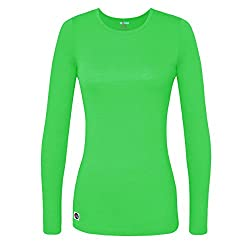 Sivvan Women's Comfort Long Sleeve T-shirt Underscrub Tee - S8500 - Neon Lime Green - L