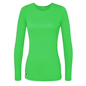 Sivvan Women's Comfort Long Sleeve T-shirt Underscrub Tee - S8500 - Neon Lime Green - L 0