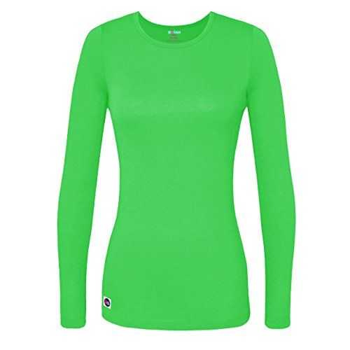 (Sivvan Women's Comfort Long Sleeve T-Shirt / Underscrub Tee - S8500 - Neon Lime Green -)