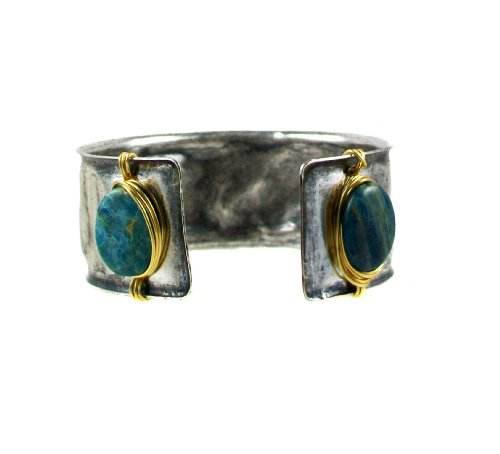 Lorraines-Designs-White-Brass-Silver-Plated-Cuff-Bracelet-with-Blue-Apatite-Gemstone