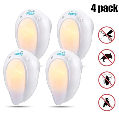 KINGSO Pest Repellent Night Light, 4 Pack Plug in Ultrasonic Insect Repellent Electronic Pest Repeller, Repel Mouse, Bed Bugs, Roaches, Ants, Mosquito Repellent Human & Pet Safe