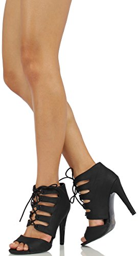 Delicious Womens Scanda Rib Caged Lace Up Single Sole Heels (Black, 7.5 M US Women, ScandaBlk-6)