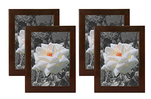 Golden State Art Set of 4, 5x7 Simple Wood Picture Frame - Table/Desk Top - Easel Stand - Back Hanger - Wall Display - Espresso Color - Real Glass 5x7 (4-Pack), Espresso by Golden State Art (Image #3)