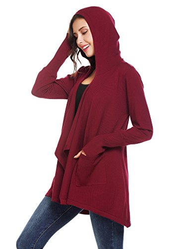 Mofavor Womens Open Front Casual Flowy Long Kimono Knit Cardigan Sweater With Pockets Wine Red S by Mofavor (Image #3)