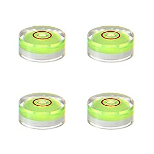 Mini Bubble Level, Aolvo 15x6mm Circular Spirit Level Multipurpose Bull's Eye Level Accurate Level Measuring Tool for Picture Hanging, Tripod, Cameras, Turntable, Drills and More (4 Packs)