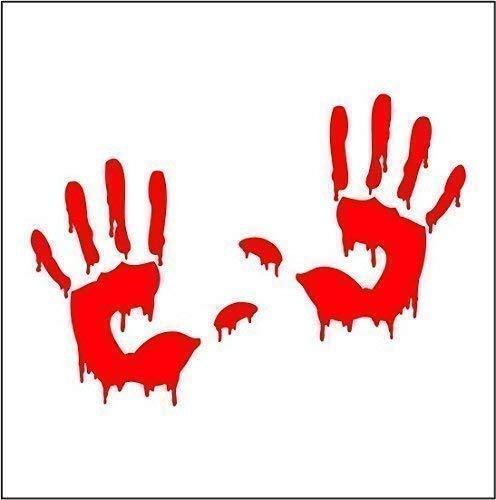 2 Bloody Hand Prints Vinyl Decal Bumper Sticker Halloween Zombie Car Sticker ()