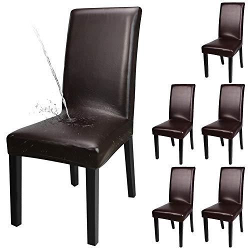 YISUN Dining Chair Covers, Solid Artificial Leather Waterproof and Oilproof Stretch Dining Chair Protector Cover Slipcover (Deep Coffee, 6 Pack)
