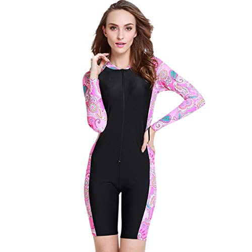 Allywit Surfing Suit Women Short Sleeve One Piece Swimwear Sun Protection Wetsuit Diving, Snorkeling, Swimming, Surfing, Pink by Allywit (Image #3)