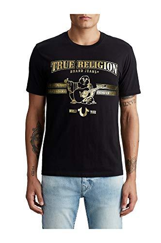 True Religon Mens World Tour Buddha Gold Metallic Foil Tee T-Shirt in Black