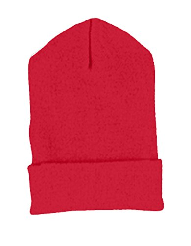 Yupoong Cuffed Knit Cap (1501)- RED, - Knit 1501 Yupoong Cap Cuffed