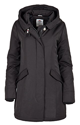6M166 Damen Arctic Parka Mantel Jacke TARORE mit Kapuze Schwarz