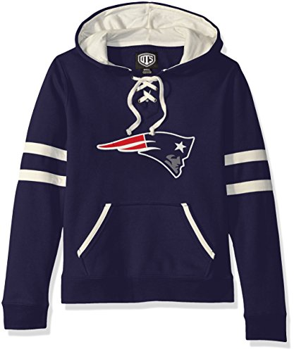 NFL New England Patriots Women's OTS Grant Lace Up Pullover Hood, Light Navy, Small