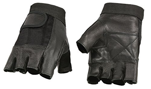 Black Leather Biker Gloves - 6