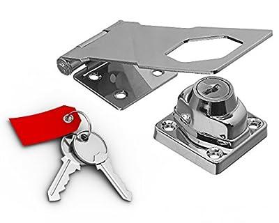 """Keyed Hasp Lock T-Locks 4 1/2"""" With Twist Knob Keyed Alike (Chrome Plated Steel Metal) Uses Yale Keyway"""