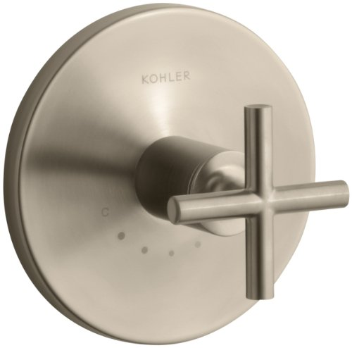 - KOHLER K-T14488-3-BV Purist Thermostatic Valve Trim with Cross Handle, Valve Not Included, Vibrant Brushed Bronze