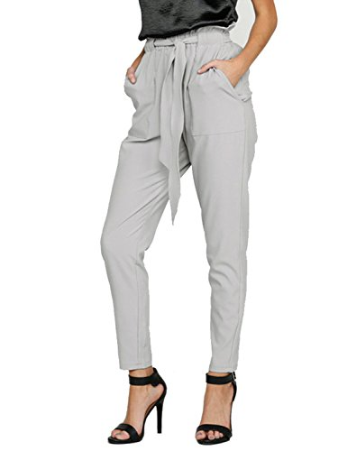 BerryGo Women's Casual Loose High Waist Stretchy Skinny Slim Long Pants (Gray,S) ()