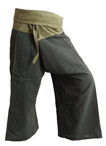 BELLEZAS 2 Tone Thai Fisherman Pants Yoga Trousers Tai Chi Hippie Plus Size Cotton Stripe (Green/Dark Green) by BELLEZAS