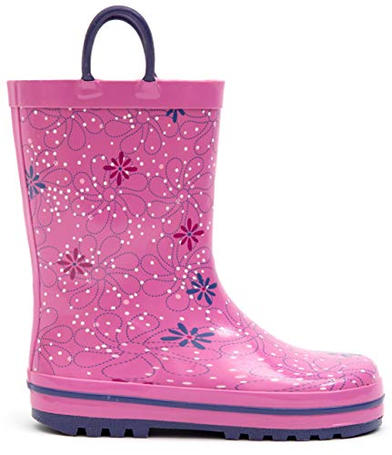 MOFEVER Toddler Girls Kids Rain Boots Rubber Waterproof Shoes Printed Lovely Purple Flower Cute Print with Easy On Handles (Size -