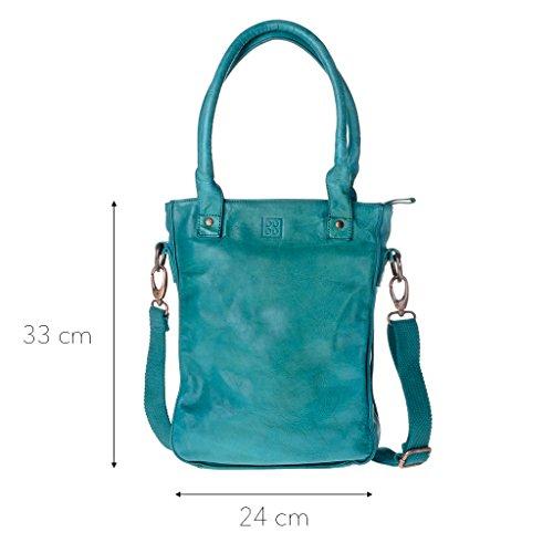 Gewaschene Shopping Tasche in Leder mit doppelten Griffen und Träger von DuDu Malachite Green