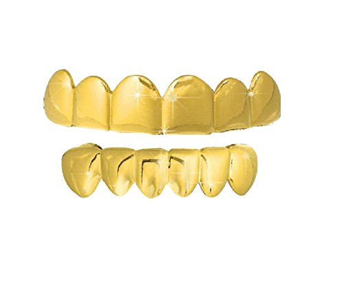 Gold Hip Hop Removeable Mouth Grillz Set (Top & Bottom) Player Style Big Dawgs Grillz 5000G