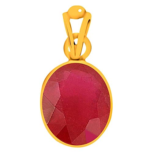 GEMS HUB 4.8 Ct. Or 5.25 Ratti Ruby Pendant/Locket (Manik Stone Panchadhatu Pendant) Quality Astrological Rashi Ratan Gemstone