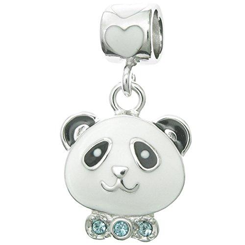 Dreambell Rhodium On 925 Sterling Silver China Panda Enamel Cz Crystal Dangle Bead for European Charm - Beads Pandora China