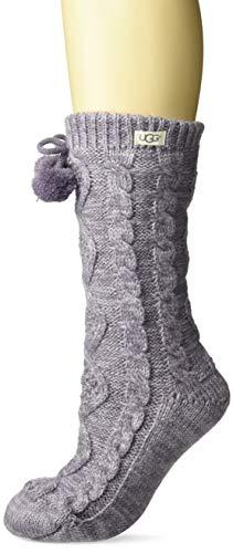 UGG Women's Pom Pom Fleece Lined Crew Sock, Lavender Aura, One Size -