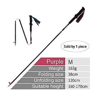 iBasingo Naturehike - Bastón Plegable de 4 Secciones de Fibra de Carbono para Senderismo y Senderismo, Purple,M