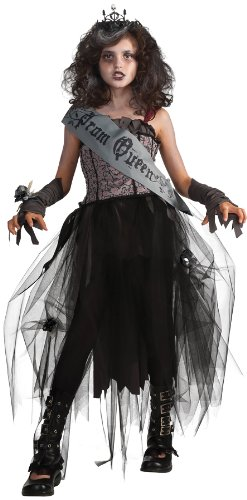 Cemetery Angel Halloween Costume (Rubie's Deluxe Goth Prom Queen Costume - Large (Ages 8 to)