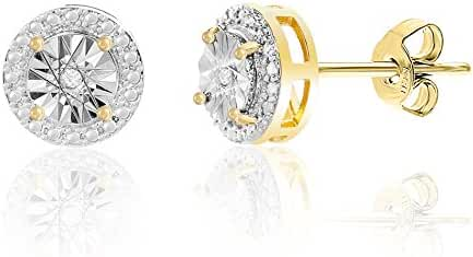 Lumineux Diamond Womens Diamond Accent Round Post Earrings with Yellow Gold Plated Brass