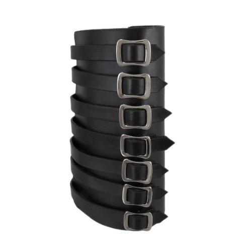 Men's Adjustable Synthetic Leather Black Gauntlet 7 Buckle Wristband