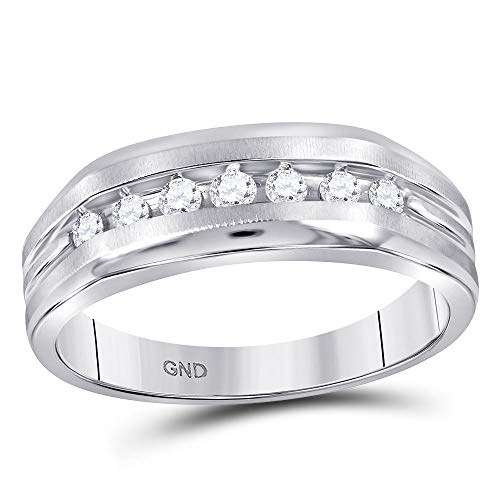 (Jewels By Lux 10kt White Gold Mens Round Diamond Wedding Single Row Band Ring 1/4 Cttw In Channel Setting (I2-I3 clarity; I-J color))