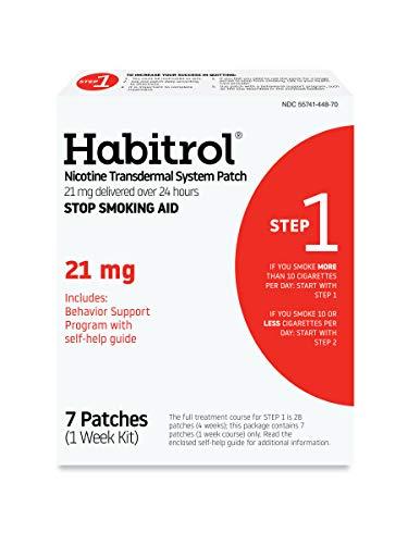 Habitrol Nicotine Transdermal System Patch | Stop Smoking Aid | Step 1 (21 mg) | 7 Patches (1 Week Kit) | Packaging May…