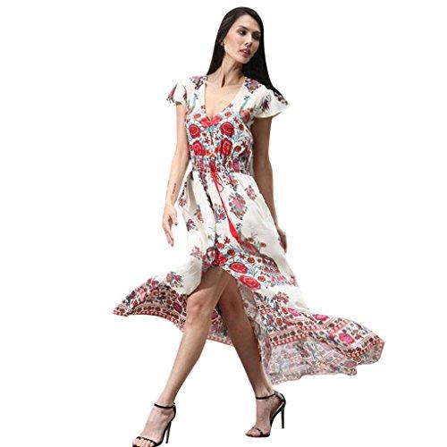 Women Dress Nighter Ladies Bohemian Floral Printed V-Neck Long Dress (XL, Pink)