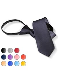 Brooben Boys' Satin Zipper Neck Tie 14 inch Children Wedding Tie NK1 Navy