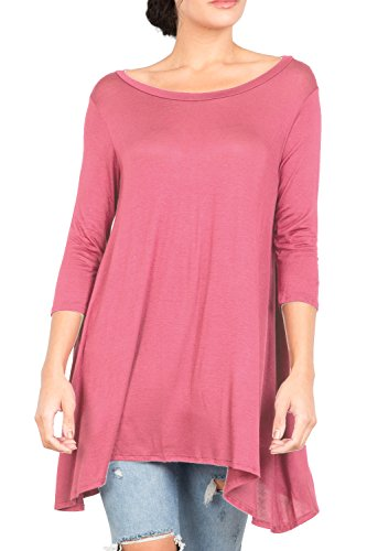 T2411 3/4 Sleeve Round Neck Relaxed A-Line Tunic T Shirt Top Dusty Rose L -