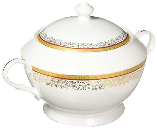 (Lorenzo Import La Luna Collection Bone China Souptureen with Lid, Romina Pattern by Lorren Home Trends, Red)