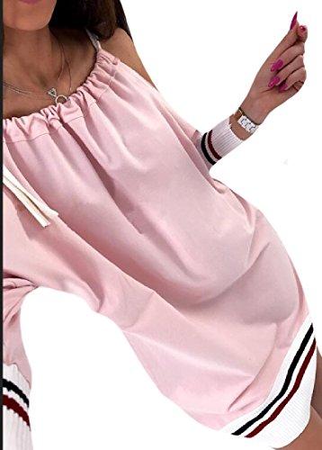 Plain Line Long Sleeve Coolred Pink Elegent Women Comfort Dress A Soft wtUZ4