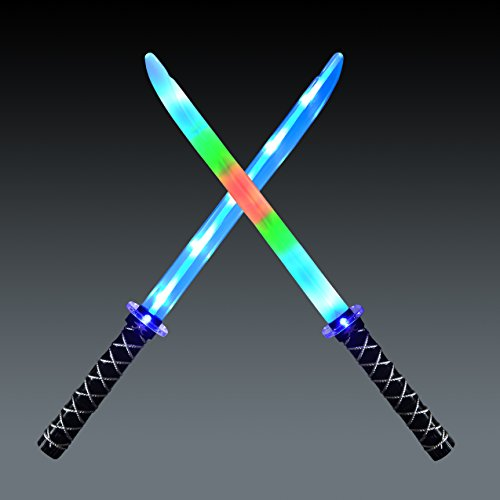 (JOYIN 2 Deluxe Ninja LED Light Up Swords with Motion Activated Clanging Sounds ñ Bright Blue and Multi Color Sword for Halloween Party, Costume Accessories)