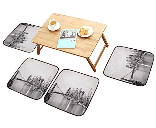 - HuaWu-home Elastic Cushions Chairs New York City Skyline with Brooklyn Bridge and Lower Manhattan View in Early morningsun Light for Living Rooms W29.5 x L29.5/4PCS Set